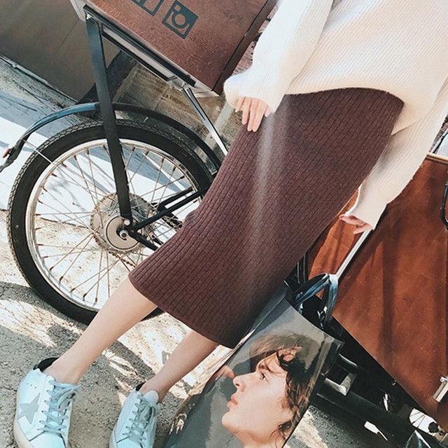【人気!】ミモレ丈 リブニット ストレッチ タイトスカート