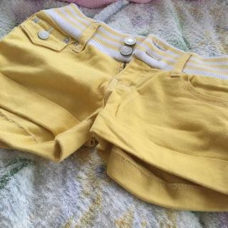 ショートパンツ カラー 黄色 ローズファンファン
