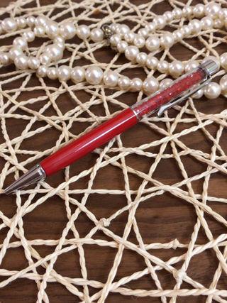 新品 送料込み (赤) スワロフスキー 風  ボールペン