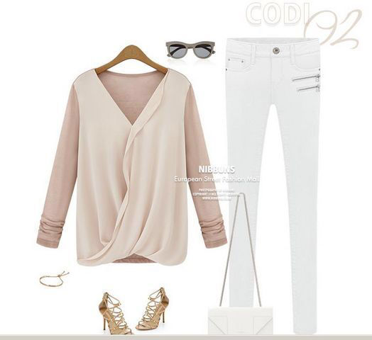 新品胸元シフォンキレイトップス ピンク・ホワイト