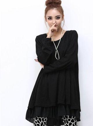 新品背中リボン裾シフォン チュニックワンピ 黒 L