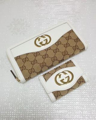 GG金具ジッピー長財布とキーケースのセットホワイト