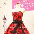 ウエディングドレス 黒ベース/赤花柄 披露宴/二次会
