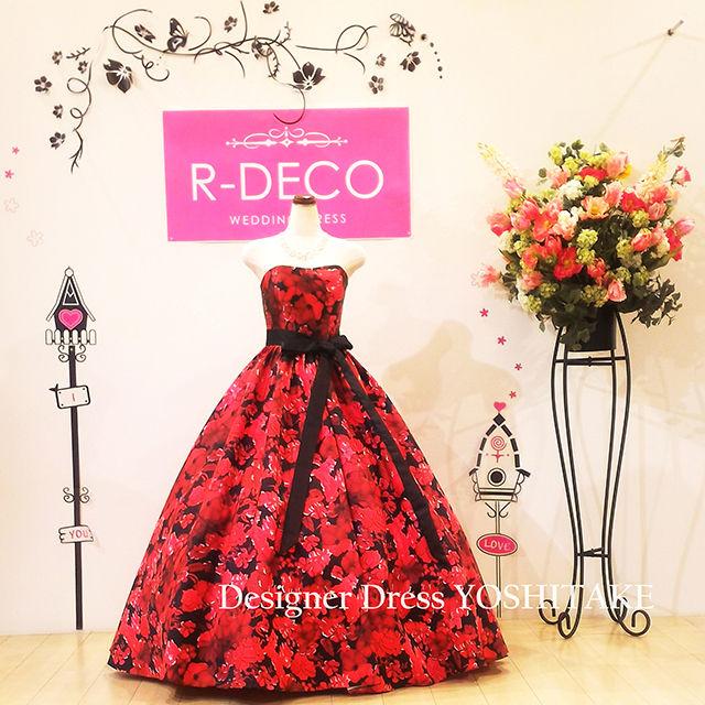 ウエディングドレス 黒ベース/赤花柄 披露宴/二次会 - フリマアプリ&サイトShoppies[ショッピーズ]