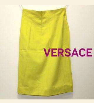 美品 ヴェルサーチ タイト スカート 黄色 蛍光 イエロー