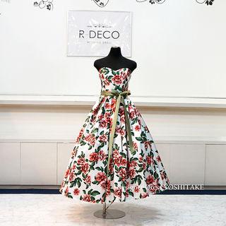 ウエディングドレス ミモレ丈花柄ドレス 二次会用