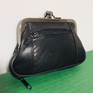 ■本革■がま口財布(ブラック)