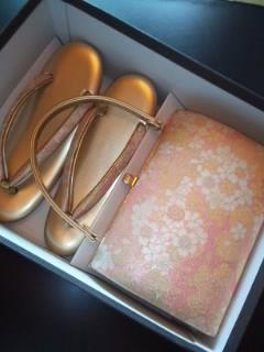 ピンク桜*草履bagセット23.5㎝美品室内利用