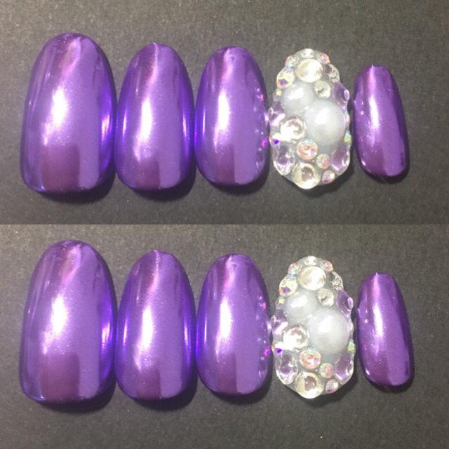 ミラーネイル 紫