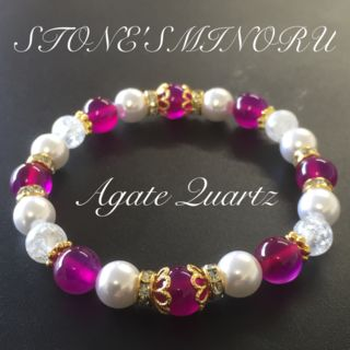 ピンクアゲートの可愛いパワーストーンレディース 数珠