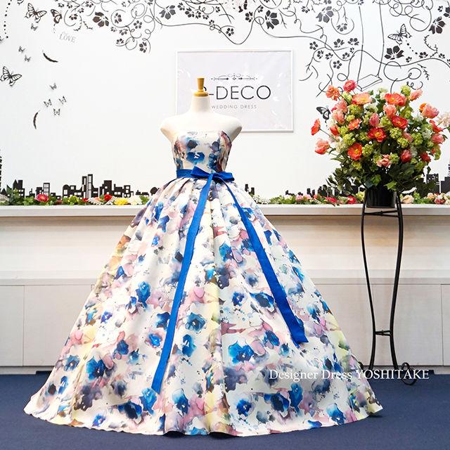 ウエディングドレス(パニエ無料) 水彩画風ドレス