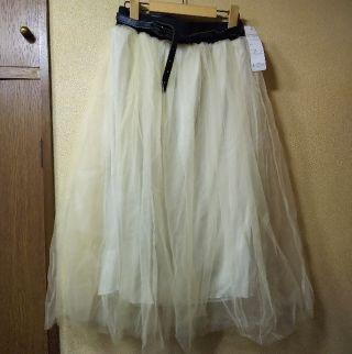 新品二重チュールレースロングスカート/L/ミルキーホワイト