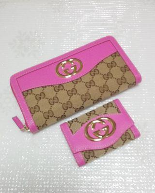 GG金具ジッピー長財布とキーケースのセットピンク