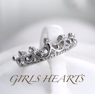送料無料15号スーパーCZダイヤモンドクラウン王冠リング指輪