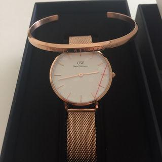 時計とローズゴールド バングル セット
