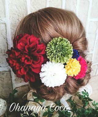 真っ赤なダリア 和装髪飾り6点Set No181