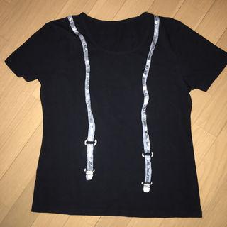 サスペンダー だまし絵 半袖Tシャツ M 黒