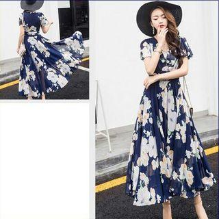 マキシ ワンピース M 紺 × 白 花 シフォン ドレス