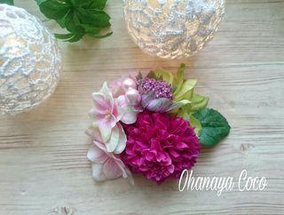funwari桜と紫マムの髪飾りNo3 浴衣 3wayタイプ
