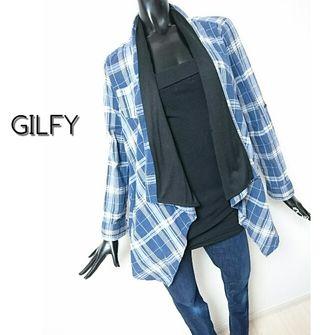GILFY*ドレープチェックシャツ