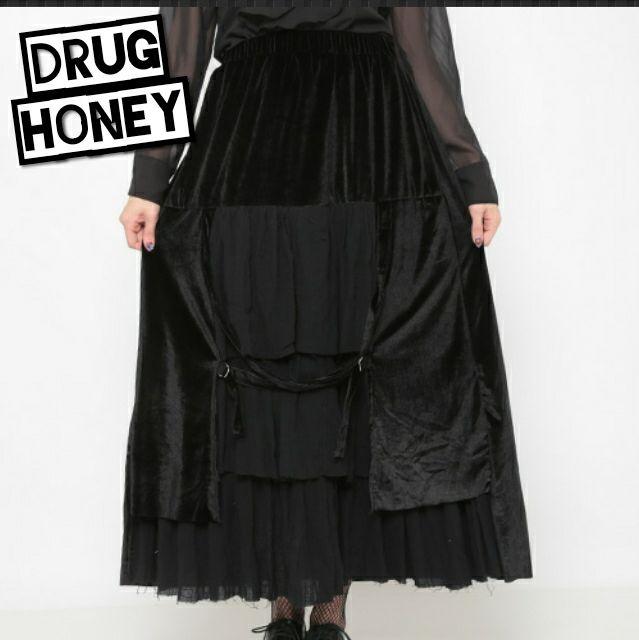 【Drughoney】べロア&ガーゼ切替ロングスカート