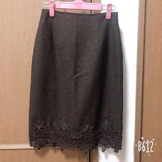 34ブラウンレーススカート