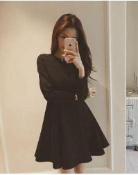 L/ブラック/長袖プリンセス ドレス ワンピース 秋冬春