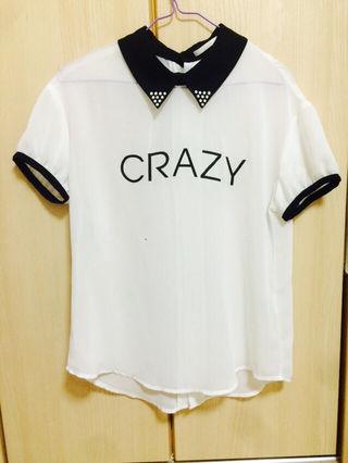 CRAZY ロゴ シースルー トップス