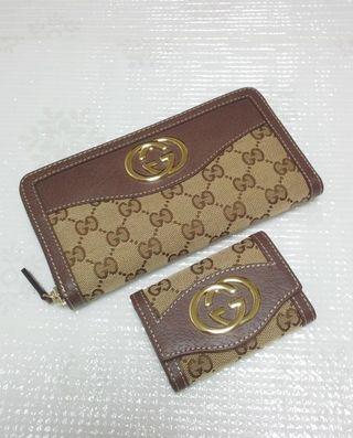 GG金具ジッピー長財布とキーケースのセットブラウン