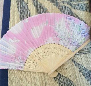 キレイ扇子ピンク 桜蝶柄