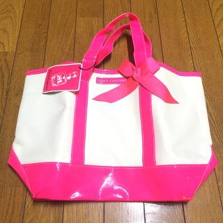 ジューシークチュール エナメルトートバッグ 白/ピンク 新品