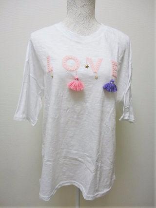 流行りのタッセル☆ LOVE Tシャツ ホワイト F