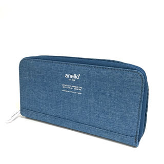 anello】高密度杢調素材ロングウォレット[ブルー]