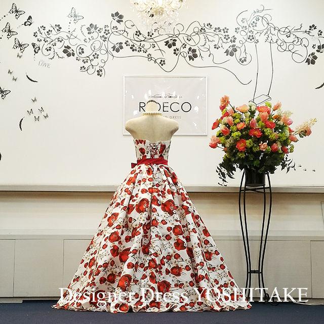 ウエディングドレス(パニエ無料) 赤い花柄