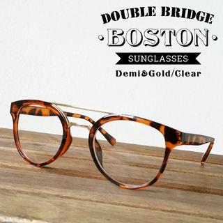ダブルブリッジラウンドボストンだて眼鏡デミブラウンクリア