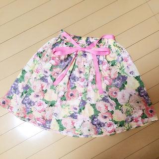 ADREE 花柄ウエストリボン スカート