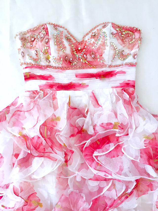 イルマIRMAフリルオーガンジー花柄pinkハイ&ロードレス(IRMA(イルマ) ) - フリマアプリ&サイトShoppies[ショッピーズ]