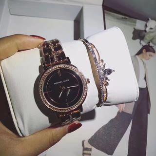 男女兼用MKマイケルコース腕時計ウォッチ黒白