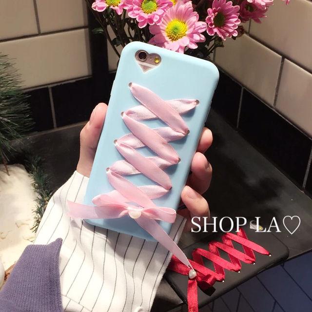 リボンレースアップハートiPhone7 case