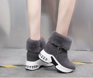 EU36(23.0cm)ショートブーツファーブーツ厚底ブーツ