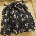 check×flower skirt