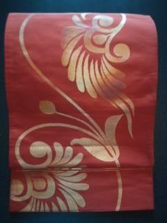 錆朱金箔唐草*正絹袋ナゴヤ帯チョー美品\350