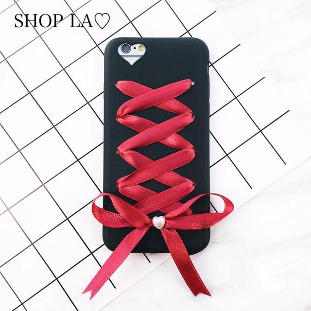 リボンレースアップハートiPhone case