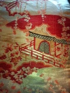 金箔御殿アンティーク正絹帯中古美品レタP