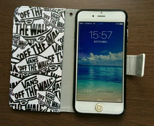 063a5d762a 手帳型 iPhone7 ケース VANS柄 シンプル 白黒