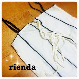 新品rienda/フロントリボン太ストライプキャミ/ホワイト