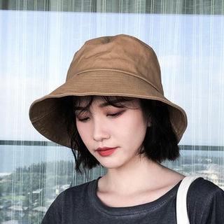 ブラウン ハット 帽子 UVカット つば広 小顔効果