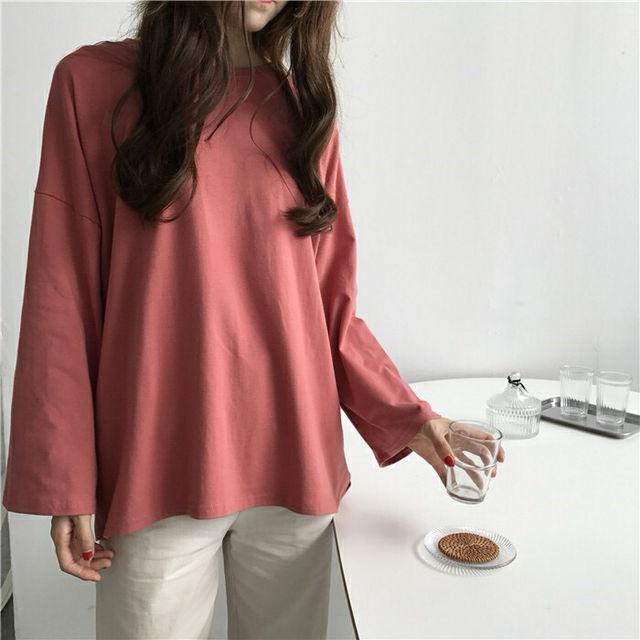 シンプル ロングスリーブ 長袖Tシャツ