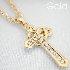 ゴールド クロス&ハート ネックレス