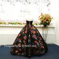 ウエディングドレス(パニエ無料) 黒チュール&花柄